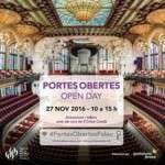 El proper diumenge, 27 de novembre (de 10 a 15 h), vine a la Jornada de Portes Obertes del Palau de la Música