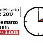 A las 2.00 h. de la madrugada del sábado 25 al domingo 26 de marzo de 2017, todos los relojes de los países miembros de la Unión Europea deberán adelantarse una hora